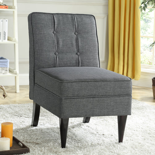 24KF Accent Chair with Storage Modern Design Button Back -Dark Gray