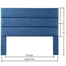 Load image into Gallery viewer, 24KF Palisades Upholstered Headboard is Comfortable and on Style Queen/Full Size-Slate Blue
