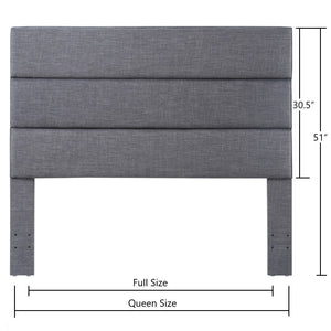 24KF Palisades Upholstered Queen Headboard is Comfortable and on Style Queen/Full Size-Dark Gray
