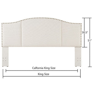 24KF Middle Century Headboard Upholstered Tufted Copper Nails Around Camelback Curve Headboard King/California King-Ivory