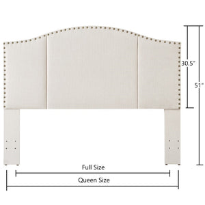 24KF Middle Century Headboard Upholstered Tufted Copper Nails Around Camelback Curve Headboard Queen/Full -Ivory