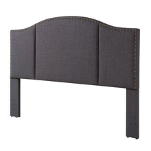 Load image into Gallery viewer, 24KF Middle Century Headboard Upholstered Tufted Copper Nails Around Camelback Curve Headboard King/California King-Dark Gray