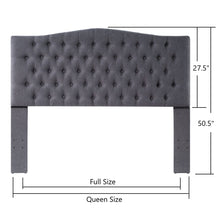 Load image into Gallery viewer, 24KF Upholstered Button Tufted Headboard is Comfortable and Classical Queen/Full Size- Dark Gray