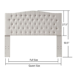 24KF Upholstered Button Tufted Headboard is Comfortable and Classical Queen/Full Size-Ivory