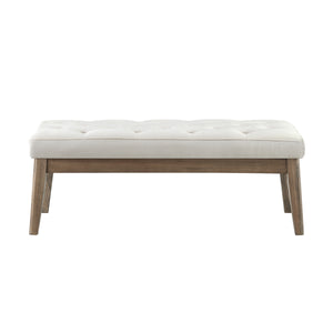 24KF Velvet Upholstered Tufted Bench with Solid Wood Leg,Ottoman with Padded Seat- Light Gray