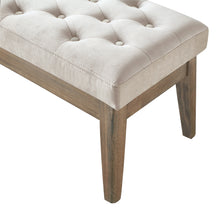 Load image into Gallery viewer, 24KF Velvet Upholstered Tufted Bench with Solid Wood Leg,Ottoman with Padded Seat-Taupe