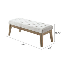 Load image into Gallery viewer, 24KF Velvet Upholstered Tufted Bench with Solid Wood Leg,Ottoman with Padded Seat- Light Gray