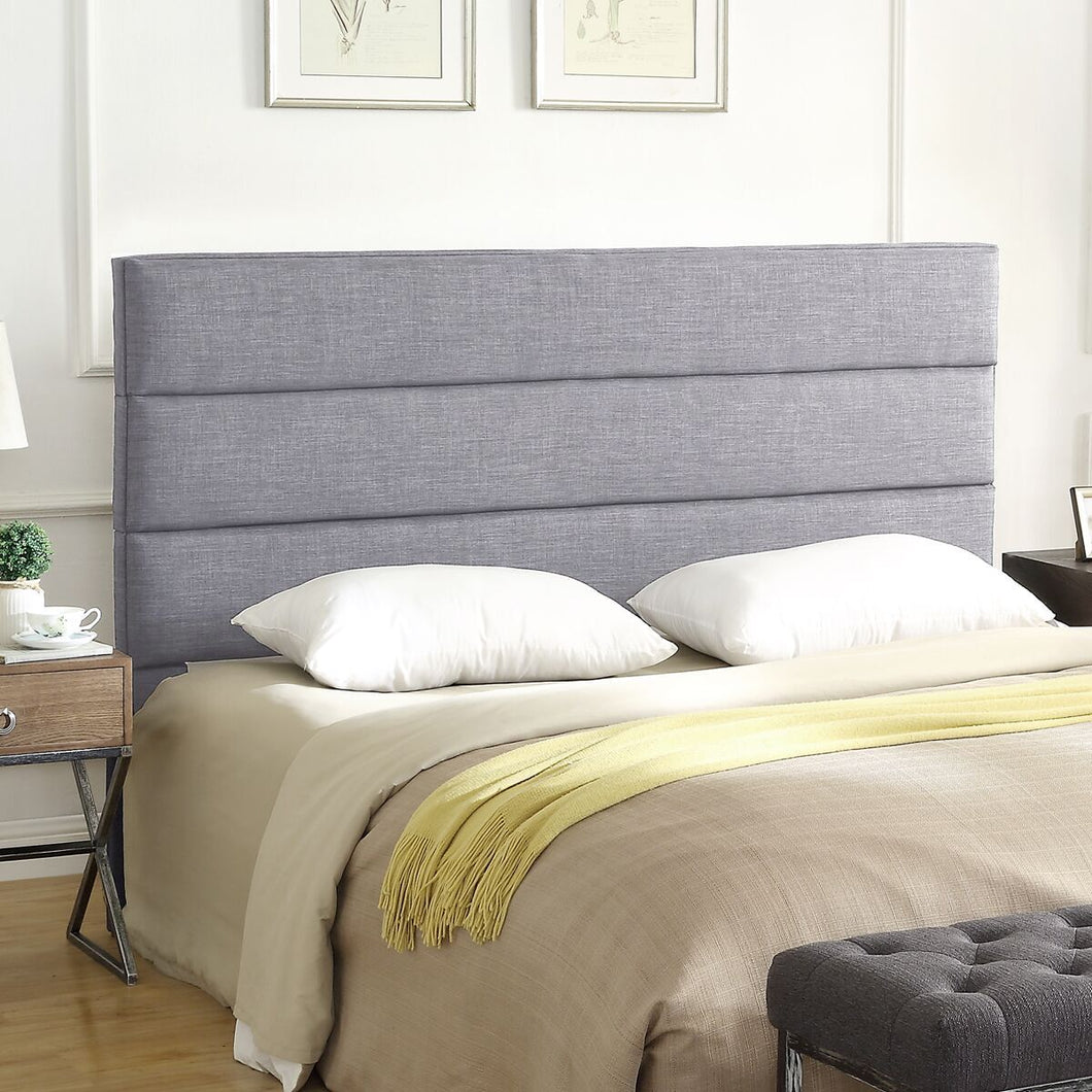 24KF Palisades Upholstered King Headboard is Comfortable and on Style King/California King Size-Light Gray