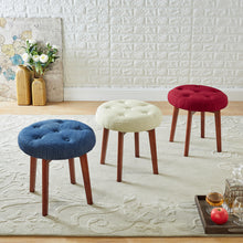 Load image into Gallery viewer, 24KF Linen Tufted Round Ottoman with Solid Wood Leg, Upholstered Padded Stool - Blue