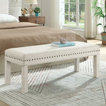 Load image into Gallery viewer, 24KF Upholstered Bed Bench with Nail Head Trim -Ivory
