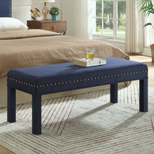 Load image into Gallery viewer, 24KF Upholstered Bed Bench with Nail Head Trim -Navy Blue