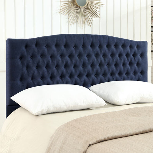 24KF Upholstered Button Tufted Headboard is Comfortable and Classical King/California King Size- Navy Blue