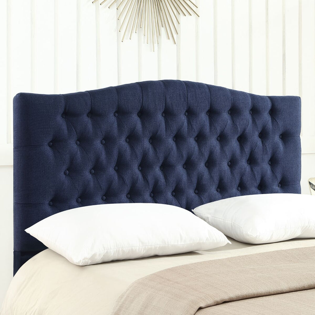 24KF Upholstered Button Tufted Headboard is Comfortable and Classical Queen/Full Size- Navy Blue