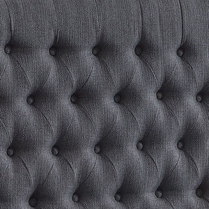 24KF Upholstered Button Tufted Headboard is Comfortable and Classical/California King Size- Dark Gray
