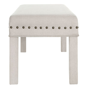 24KF Upholstered Bed Bench with Nail Head Trim -Ivory