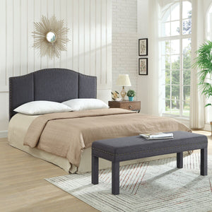 24KF Upholstered Bed Bench with Nail Head Trim -Dark Gray