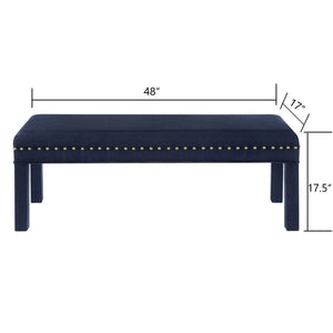 24KF Upholstered Bed Bench with Nail Head Trim -Navy Blue