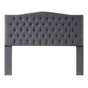 24KF Upholstered Button Tufted Headboard is Comfortable and Classical Queen/Full Size- Dark Gray