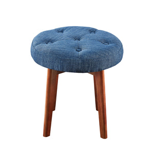 24KF Linen Tufted Round Ottoman with Solid Wood Leg, Upholstered Padded Stool - Blue