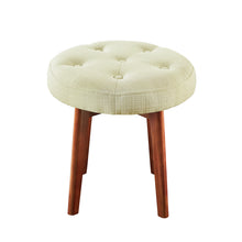 Load image into Gallery viewer, Linen Tufted Round Ottoman with Solid Wood Leg, Upholstered Padded Stool - Cream …