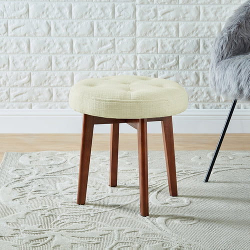 24KF Linen Tufted Round Ottoman with Solid Wood Leg, Upholstered Padded Stool - Ivory