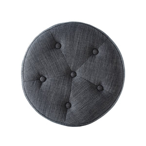 24KF Linen Tufted Round Ottoman with Solid Wood Leg, Upholstered Padded Stool - Dark Gray