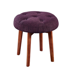 24KF Linen Tufted Round Ottoman with Solid Wood Leg, Upholstered Padded Stool - Eggplant …