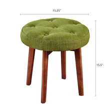 Load image into Gallery viewer, 24KF Linen Tufted Round Ottoman with Solid Wood Leg, Upholstered Padded Stool - Lime …