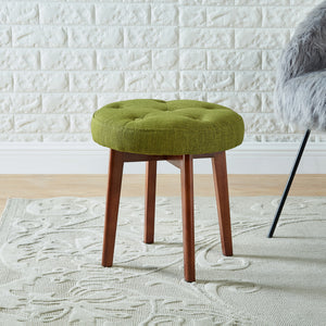 24KF Linen Tufted Round Ottoman with Solid Wood Leg, Upholstered Padded Stool - Lime …