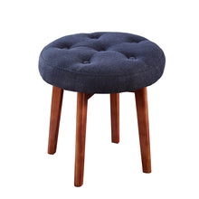 Load image into Gallery viewer, 24KF Linen Tufted Round Ottoman with Solid Wood Leg, Upholstered Padded Stool - Navy …
