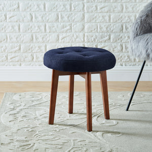 24KF Linen Tufted Round Ottoman with Solid Wood Leg, Upholstered Padded Stool - Navy …