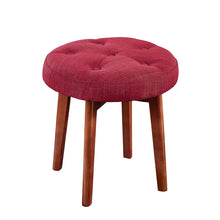 Load image into Gallery viewer, 24KF Linen Tufted Round Ottoman with Solid Wood Leg, Upholstered Padded Stool - Red