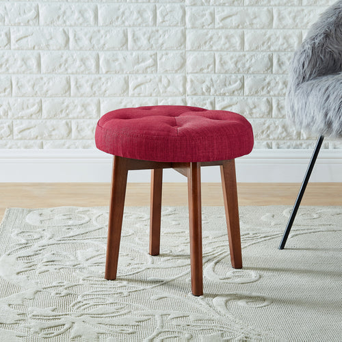 24KF Linen Tufted Round Ottoman with Solid Wood Leg, Upholstered Padded Stool - Red