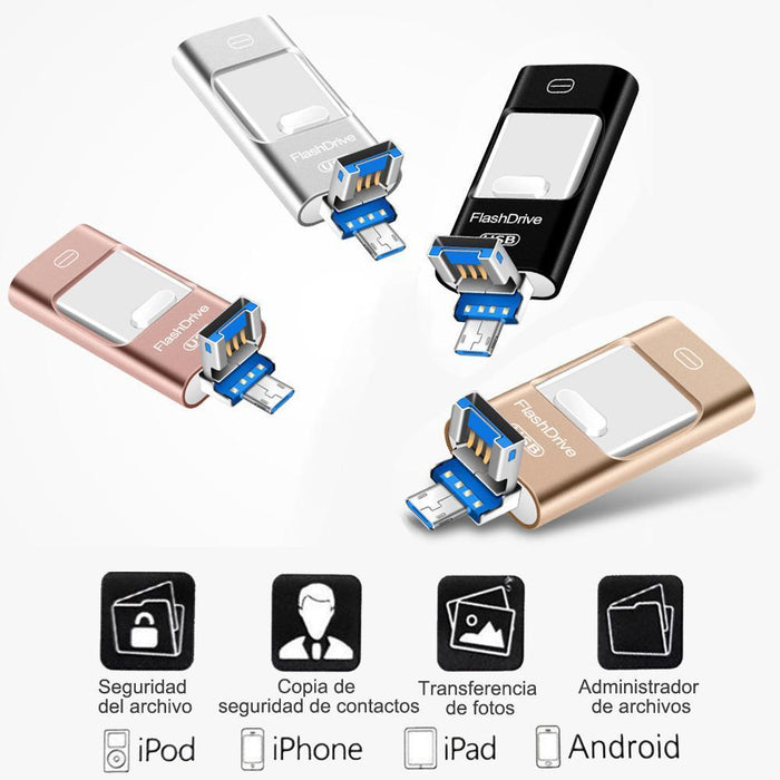 Unidad flash USB portátil para iPhone, iPad y Android