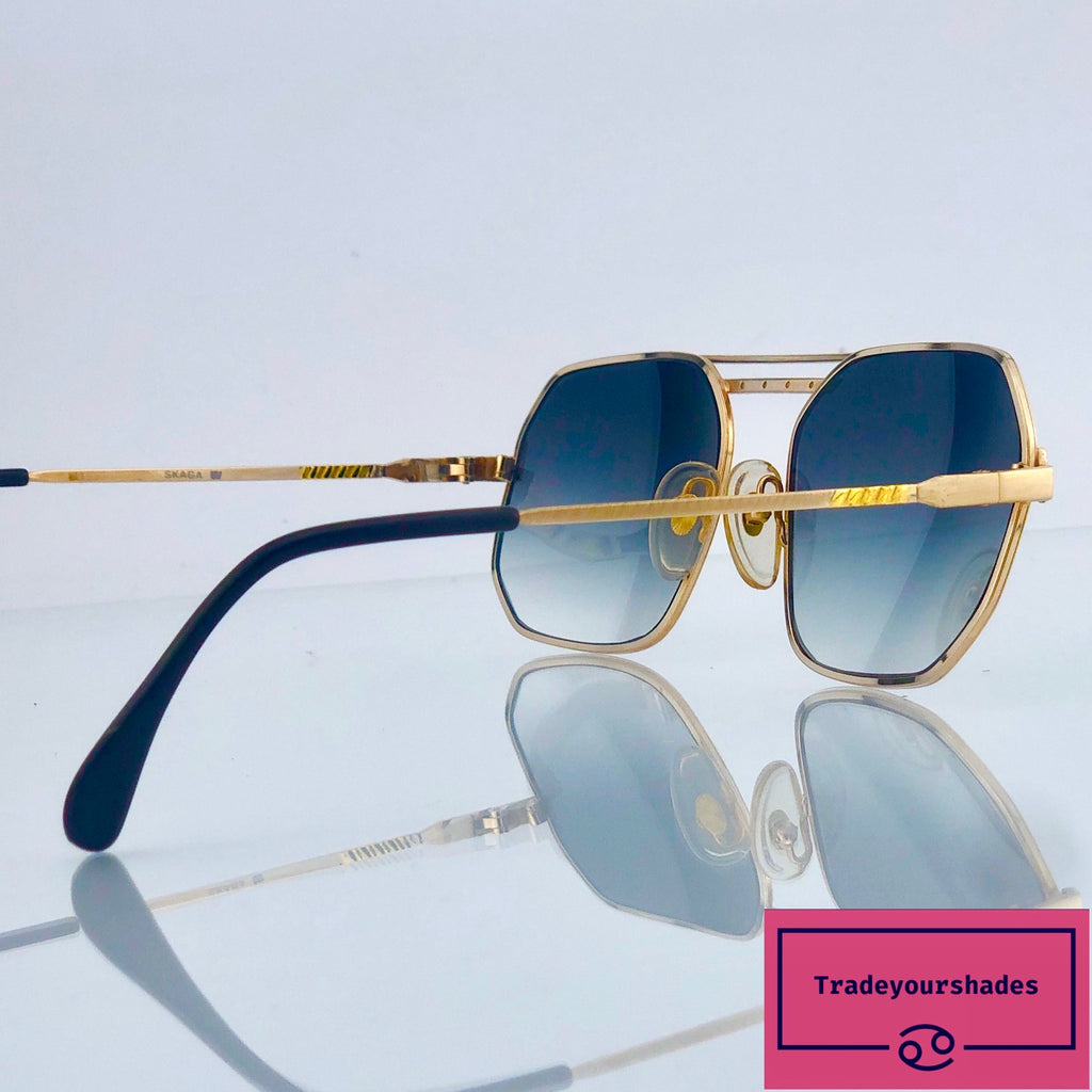 Pestige by Skaga 956 Vintage Gold Aviator Sunglasses 80's