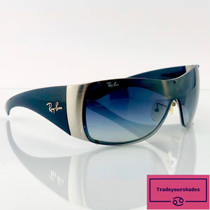 Ray-Ban RB 3361 Black Brushed Steel Shield Sunglasses gucci.