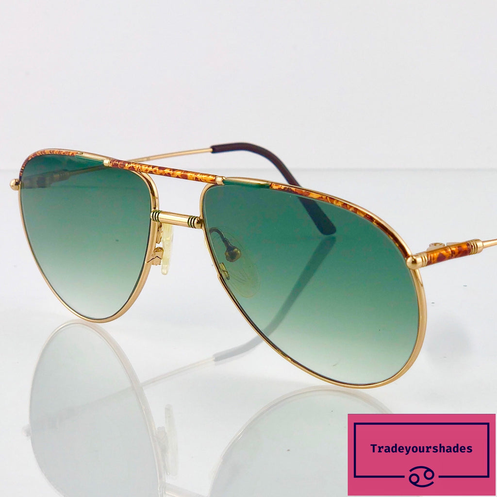 Beaubourg 03 Vintage Aviator Sunglasses 1980's Rare and Collectable (Green Trim) gucci.