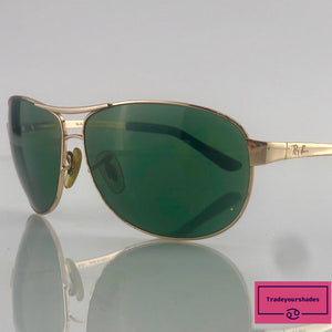 Ray Ban  RB3342 Warrior Aviator Gold Green Sunglasses gucci.