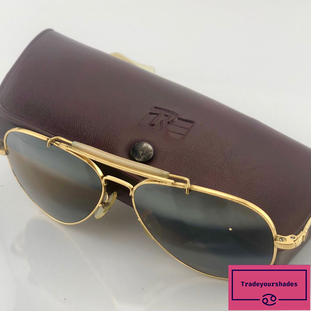 Vintage Randolph Engineering Aviator Sunglasses with 23 K Gold Plated Frames  1960's gucci.