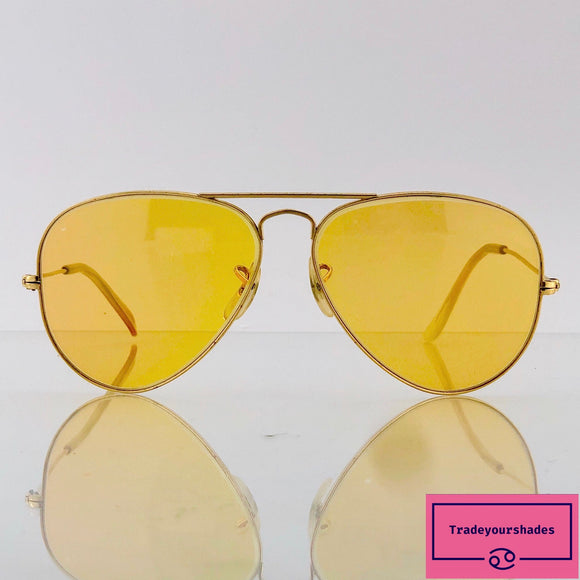 Bausch & Lomb Ray Ban  Artists Ambermatic Aviator Sunglasses  1960's