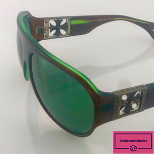 Chrome Hearts 'Erected' Sunglasses Green