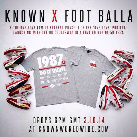 The One-Love Project brings you WeAreKnown X Foot-Balla 2014 Co-Lab. Og red white & grey retro colourway. See details below....
