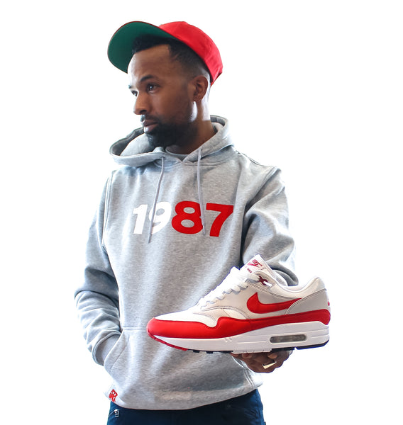 "Foot-Balla Anniversary OG Red 87 Hoody ""1987"" men's and women's"