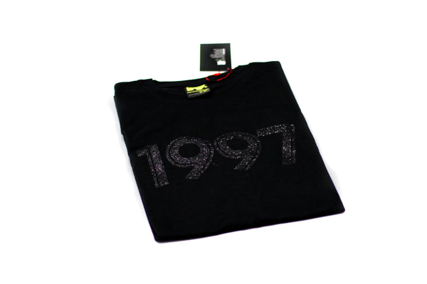 "Foot-Balla Swarovski inspired ""plush Black glitter"" 1997 Tee"