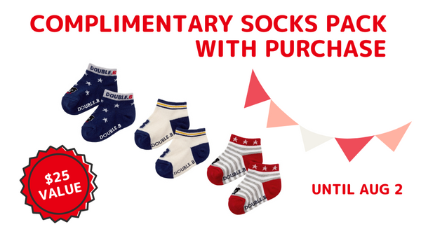 Complimentary socks pack ($25 value) with purchase until Aug 2