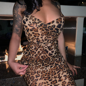 Lux Long Leopard Print Maxi Dress