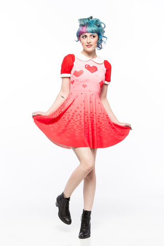 Pixelated Love A-Line Dress