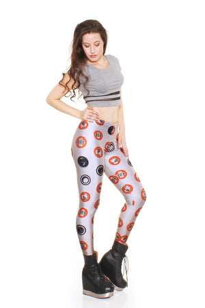 MechaDots Grey Leggings - LIMITED