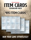 Item Cards Expansion Pack: 495 Pre-Filled Magic Items