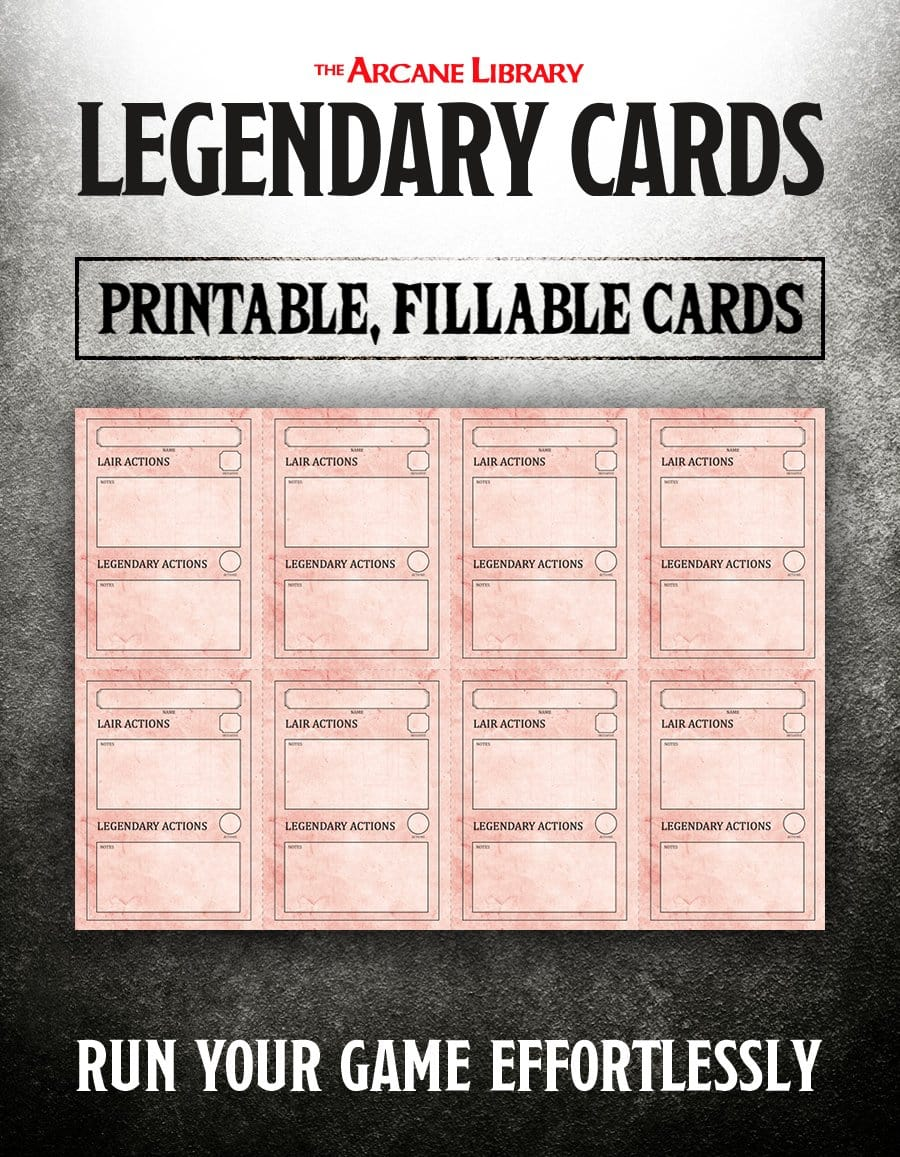 Fillable Legendary Cards (5E)